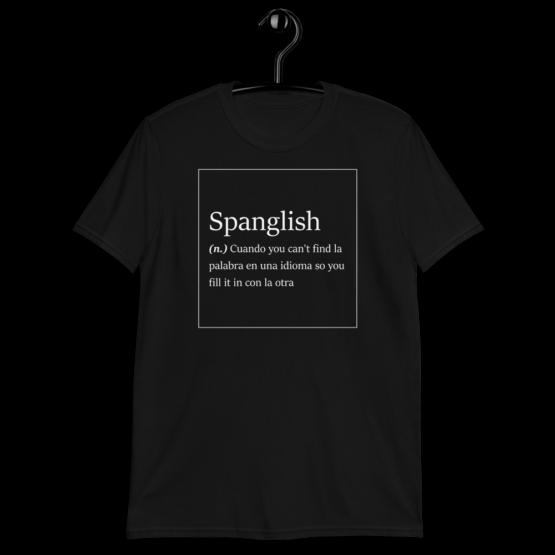 Spanglish Explained Short-Sleeve Unisex Black T-Shirt