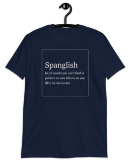 Spanglish Explained Short-Sleeve Unisex Navy T-Shirt