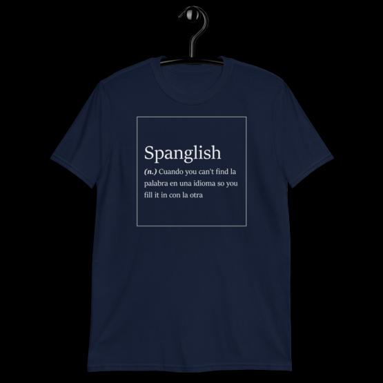 Spanglish Explained Short-Sleeve Unisex Navy T-Shirt